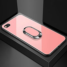 Carcasa Bumper Funda Silicona Espejo con Magnetico Anillo de dedo Soporte para Xiaomi Redmi Go Oro Rosa