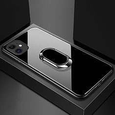 Carcasa Bumper Funda Silicona Espejo con Magnetico Anillo de dedo Soporte T01 para Apple iPhone 11 Negro