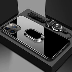 Carcasa Bumper Funda Silicona Espejo con Magnetico Anillo de dedo Soporte T01 para Apple iPhone 11 Pro Max Negro