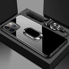 Carcasa Bumper Funda Silicona Espejo con Magnetico Anillo de dedo Soporte T01 para Apple iPhone 11 Pro Negro
