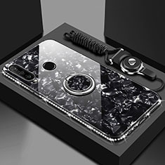 Carcasa Bumper Funda Silicona Espejo con Magnetico Anillo de dedo Soporte T01 para Huawei Honor 20 Lite Negro
