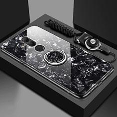 Carcasa Bumper Funda Silicona Espejo con Magnetico Anillo de dedo Soporte T01 para Huawei Mate 20 Lite Negro