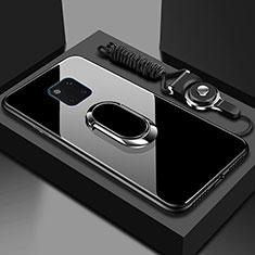 Carcasa Bumper Funda Silicona Espejo con Magnetico Anillo de dedo Soporte T01 para Huawei Mate 20 Pro Negro
