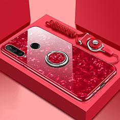 Carcasa Bumper Funda Silicona Espejo con Magnetico Anillo de dedo Soporte T01 para Huawei P30 Lite Rojo