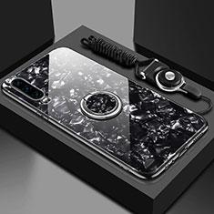 Carcasa Bumper Funda Silicona Espejo con Magnetico Anillo de dedo Soporte T01 para Huawei P30 Negro