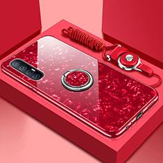 Carcasa Bumper Funda Silicona Espejo con Magnetico Anillo de dedo Soporte T01 para Oppo Find X2 Neo Rojo