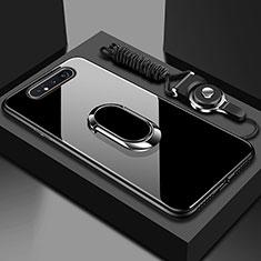 Carcasa Bumper Funda Silicona Espejo con Magnetico Anillo de dedo Soporte T01 para Samsung Galaxy A80 Negro