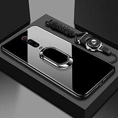 Carcasa Bumper Funda Silicona Espejo con Magnetico Anillo de dedo Soporte T01 para Xiaomi Mi 9T Pro Negro