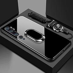 Carcasa Bumper Funda Silicona Espejo con Magnetico Anillo de dedo Soporte T01 para Xiaomi Mi Note 10 Negro