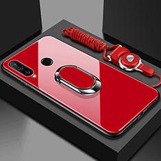 Carcasa Bumper Funda Silicona Espejo con Magnetico Anillo de dedo Soporte T02 para Huawei Honor 20 Lite Rojo