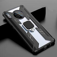 Carcasa Bumper Funda Silicona Espejo con Magnetico Anillo de dedo Soporte T02 para Huawei Mate 30 Pro 5G Negro