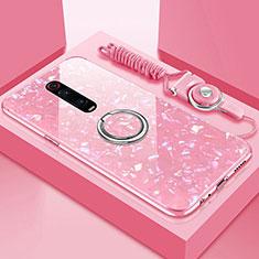 Carcasa Bumper Funda Silicona Espejo con Magnetico Anillo de dedo Soporte T02 para Xiaomi Mi 9T Pro Rosa