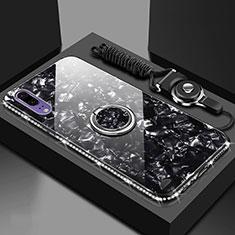 Carcasa Bumper Funda Silicona Espejo con Magnetico Anillo de dedo Soporte T03 para Huawei P20 Negro