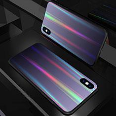 Carcasa Bumper Funda Silicona Espejo Gradiente Arco iris A01 para Apple iPhone Xs Max Negro