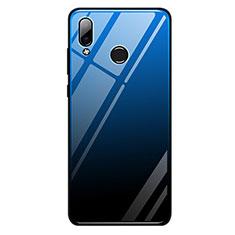 Carcasa Bumper Funda Silicona Espejo Gradiente Arco iris G01 para Huawei Honor Play Azul y Negro