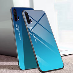 Carcasa Bumper Funda Silicona Espejo Gradiente Arco iris H01 para Huawei Honor 20 Pro Azul