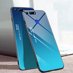 Carcasa Bumper Funda Silicona Espejo Gradiente Arco iris H01 para Huawei Honor V20 Azul