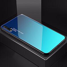 Carcasa Bumper Funda Silicona Espejo Gradiente Arco iris H01 para Huawei Nova 5T Azul