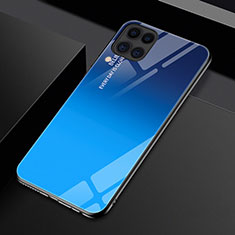 Carcasa Bumper Funda Silicona Espejo Gradiente Arco iris H01 para Huawei P40 Lite Azul