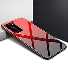 Carcasa Bumper Funda Silicona Espejo Gradiente Arco iris H01 para Huawei P40 Pro Rojo