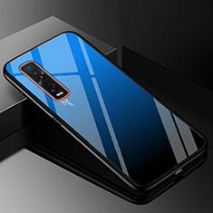 Carcasa Bumper Funda Silicona Espejo Gradiente Arco iris H01 para Oppo Find X2 Pro Azul
