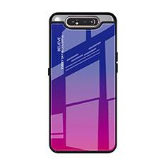 Carcasa Bumper Funda Silicona Espejo Gradiente Arco iris H01 para Samsung Galaxy A80 Rosa Roja