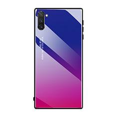 Carcasa Bumper Funda Silicona Espejo Gradiente Arco iris H01 para Samsung Galaxy Note 10 5G Rosa Roja