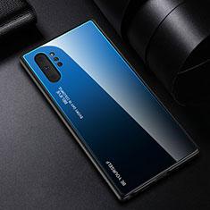 Carcasa Bumper Funda Silicona Espejo Gradiente Arco iris H01 para Samsung Galaxy Note 10 Plus 5G Azul