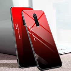 Carcasa Bumper Funda Silicona Espejo Gradiente Arco iris H01 para Xiaomi Mi 9T Pro Rojo
