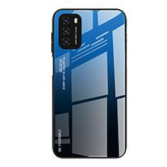 Carcasa Bumper Funda Silicona Espejo Gradiente Arco iris H01 para Xiaomi Poco M3 Azul