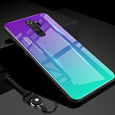 Carcasa Bumper Funda Silicona Espejo Gradiente Arco iris H01 para Xiaomi Redmi Note 8 Pro Cian