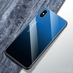 Carcasa Bumper Funda Silicona Espejo Gradiente Arco iris M01 para Apple iPhone Xs Max Azul