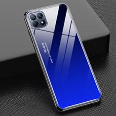 Carcasa Bumper Funda Silicona Espejo Gradiente Arco iris M01 para Oppo Reno4 SE 5G Azul