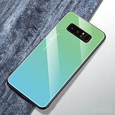Carcasa Bumper Funda Silicona Espejo Gradiente Arco iris M01 para Samsung Galaxy Note 8 Duos N950F Cian