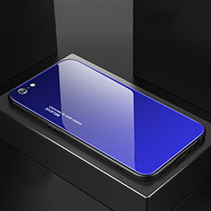 Carcasa Bumper Funda Silicona Espejo Gradiente Arco iris para Apple iPhone 6S Azul