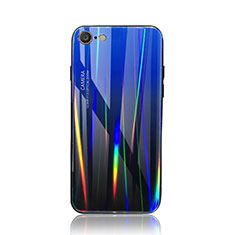 Carcasa Bumper Funda Silicona Espejo Gradiente Arco iris para Apple iPhone 7 Azul