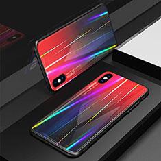 Carcasa Bumper Funda Silicona Espejo Gradiente Arco iris para Apple iPhone Xs Rojo
