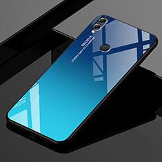 Carcasa Bumper Funda Silicona Espejo Gradiente Arco iris para Huawei Enjoy Max Azul