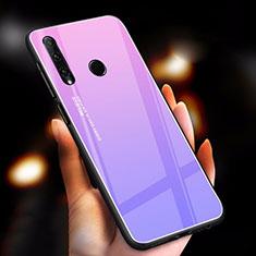 Carcasa Bumper Funda Silicona Espejo Gradiente Arco iris para Huawei Honor 20 Lite Morado