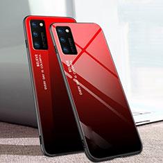Carcasa Bumper Funda Silicona Espejo Gradiente Arco iris para Huawei Honor View 30 Pro 5G Rojo