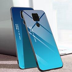 Carcasa Bumper Funda Silicona Espejo Gradiente Arco iris para Huawei Nova 5i Pro Azul