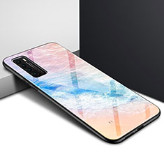 Carcasa Bumper Funda Silicona Espejo Gradiente Arco iris para Huawei Nova 7 5G Naranja