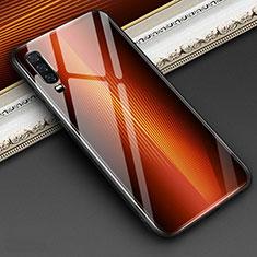 Carcasa Bumper Funda Silicona Espejo Gradiente Arco iris para Huawei P30 Naranja