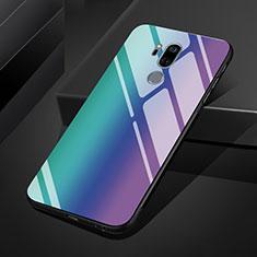 Carcasa Bumper Funda Silicona Espejo Gradiente Arco iris para LG G7 Azul