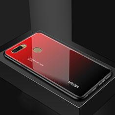 Carcasa Bumper Funda Silicona Espejo Gradiente Arco iris para Oppo A7 Rojo