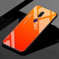 Carcasa Bumper Funda Silicona Espejo Gradiente Arco iris para Oppo A9 Naranja
