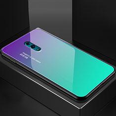 Carcasa Bumper Funda Silicona Espejo Gradiente Arco iris para Oppo Reno Cian