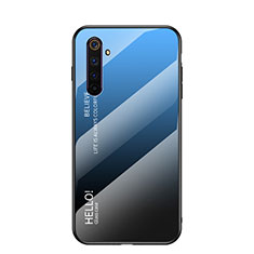Carcasa Bumper Funda Silicona Espejo Gradiente Arco iris para Realme 6s Azul