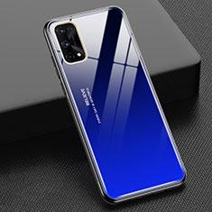 Carcasa Bumper Funda Silicona Espejo Gradiente Arco iris para Realme X7 Pro 5G Azul