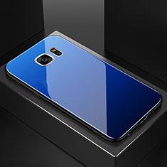 Carcasa Bumper Funda Silicona Espejo Gradiente Arco iris para Samsung Galaxy S7 Edge G935F Azul
